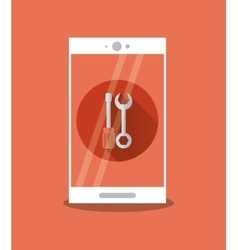 Modern cellphone with tools icon image vector