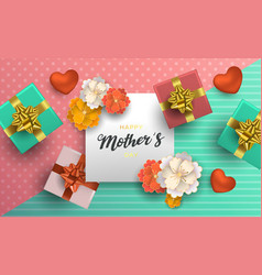 mothers day card of flower decoration for mom gift vector image