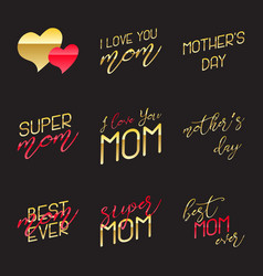 mothers day lettering calligraphic emblems set vector image
