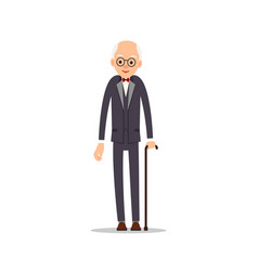 old man elderly man in tail-coat with bow tie vector image