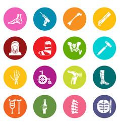 orthopedist bone tools icons set colorful circles vector image