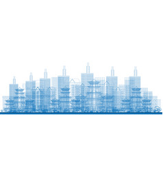 outline city skyscrapers in blue color vector image