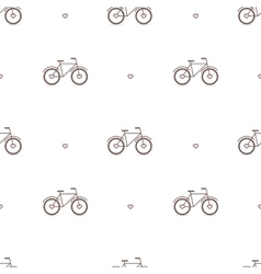 Outline cute bicycles seamless pattern vector