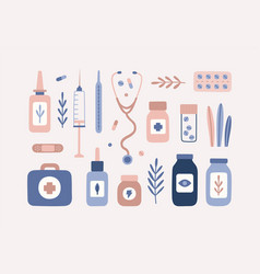 Pastel medical stuff and plants isolated objects vector