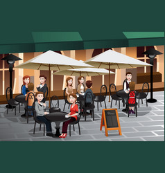 people enjoying coffee outside of a cafe vector image