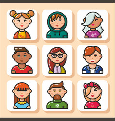 People face icons 31 vector