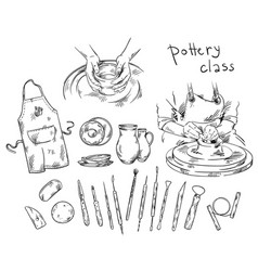 pottery class tools and instruments for vector image
