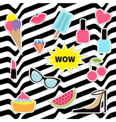 Quirky sticker patch badge set Fashion pin vector image