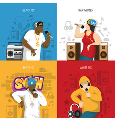 Rap music performers concept design vector