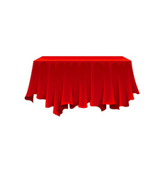 Rectangular table under red silk cloth on white vector