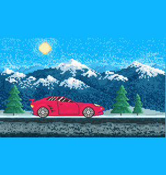 red sports car and mountain landscape game vector image