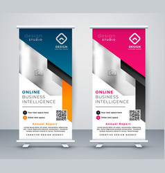 roll up banner layout template in geometric style vector image
