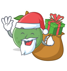 Santa with gift guava mascot cartoon style vector