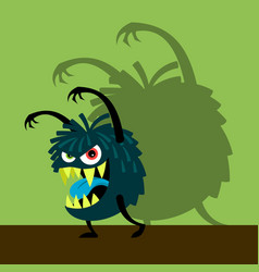 Scary blue monster with shadow vector