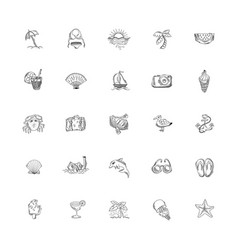 set 25 hand drawing sketch icons summer themed vector image