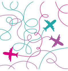 Set airplanes flying with lines vector