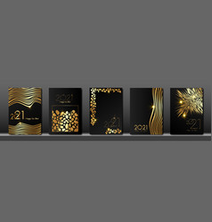 set cards 2021 happy new year gold animal texture vector image