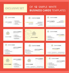 set of 12 basket creative busienss card template vector image