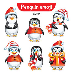Set of christmas penguin characters set 2 vector