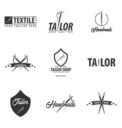 Set of tailor sewing handmade logos or emblems vector