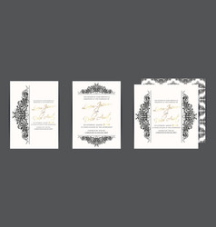 set three wedding invitation cards vector image