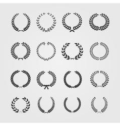 Set wreathswheat circular laurel heraldry vector