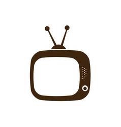 silhouette antique tv icon flat vector image