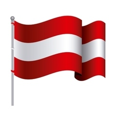silhouette color with waving flag of austria and vector image