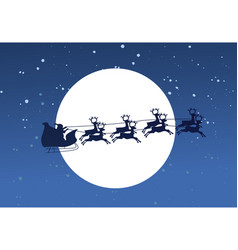 Silhouette of flying santa and christmas reindeer vector