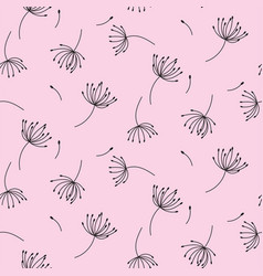 simple dandelions on pink seamless pattern vector image