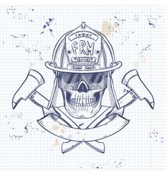 sketch fireman skull vector image