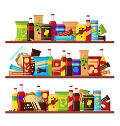 Snack product set on shelves colorful fast vector