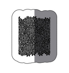 Sticker black pattern with white contour flowers vector
