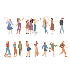 summer outdoors activities people walking vector image