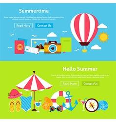 Summer Time Flat Website Banners Set vector image