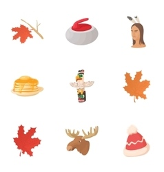 Tourism in Canada icons set cartoon style vector