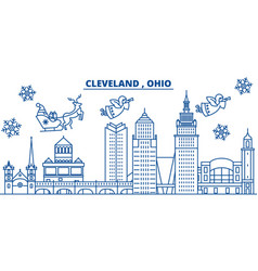 Usa ohio cleveland winter city skyline merry vector