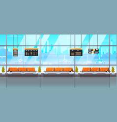 Waiting hall or departure lounge modern airport vector