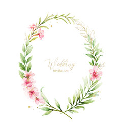 Watercolor frame pink flowers and almond vector