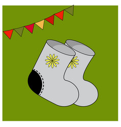 Winter felt boots with ornament elements of warm vector