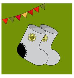 Winter felt boots with ornament elements warm vector