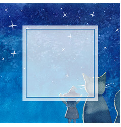 witch and cat under blue galaxy night sky banner vector image