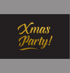 Xmas party gold word text typography vector