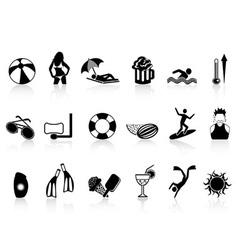 black summer heat icons set vector image vector image
