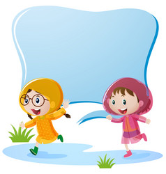 Border design with two girls in raincoat vector