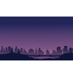 Bridge and city landscape of silhouette vector image vector image