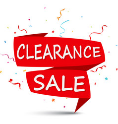 clearance sale with ribbon and confetti vector image vector image
