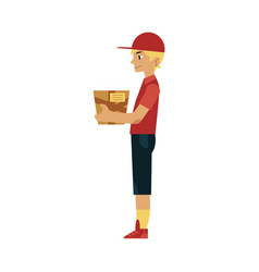 flat delivery man holding shipping box vector image