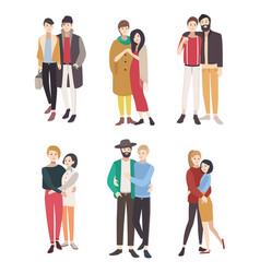 gay couples flat colorful lgbt men vector image