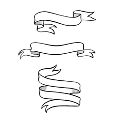Vintage hand drawn ribbon banner vector image